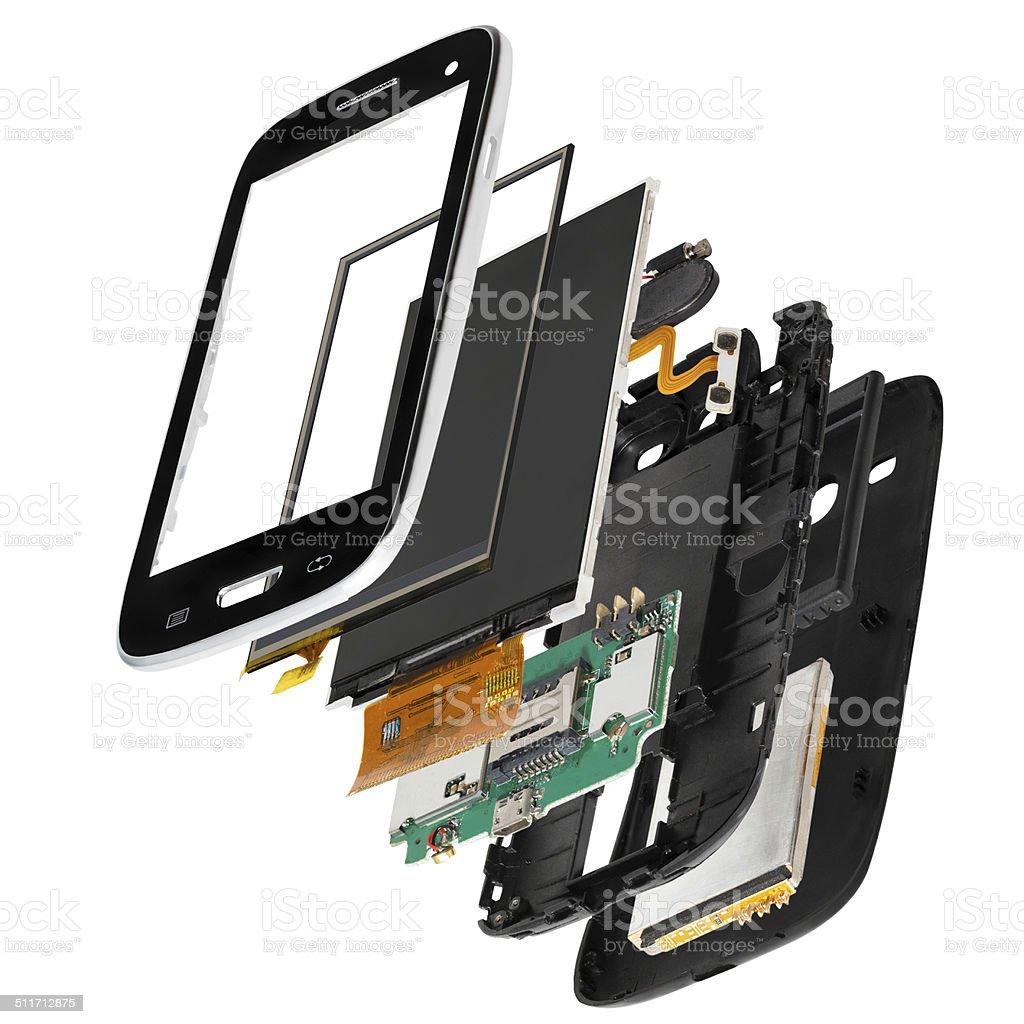 isometric disassembled smartphone stock photo
