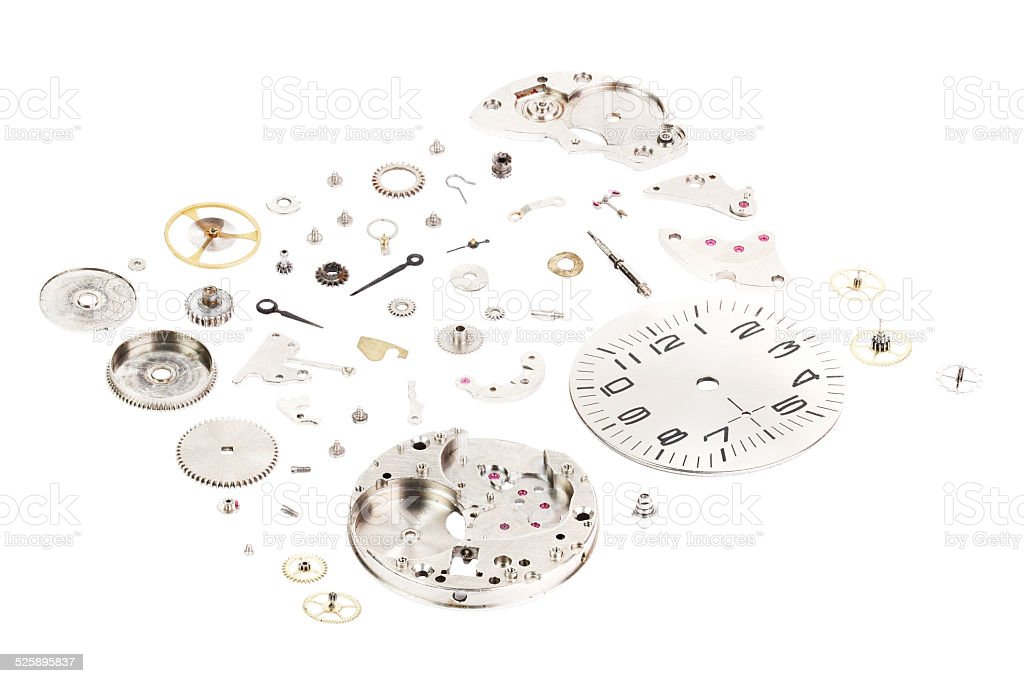 Isometric. Dismantled old mechanical wristwatch isolated on white background stock photo