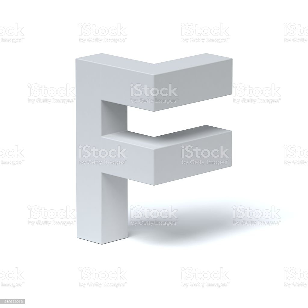 Isometric font letter F stock photo