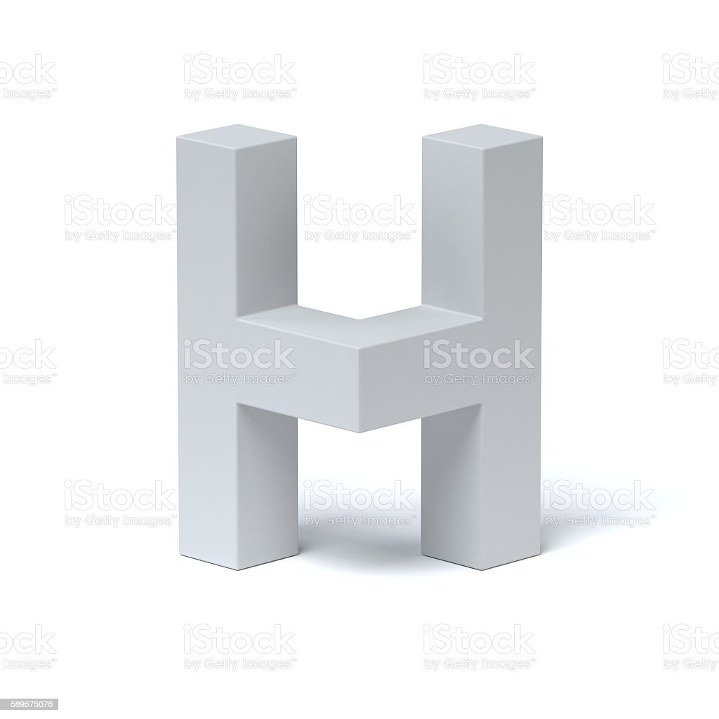 Isometric font letter H stock photo