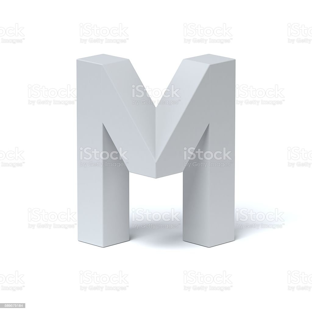 Isometric font letter M stock photo