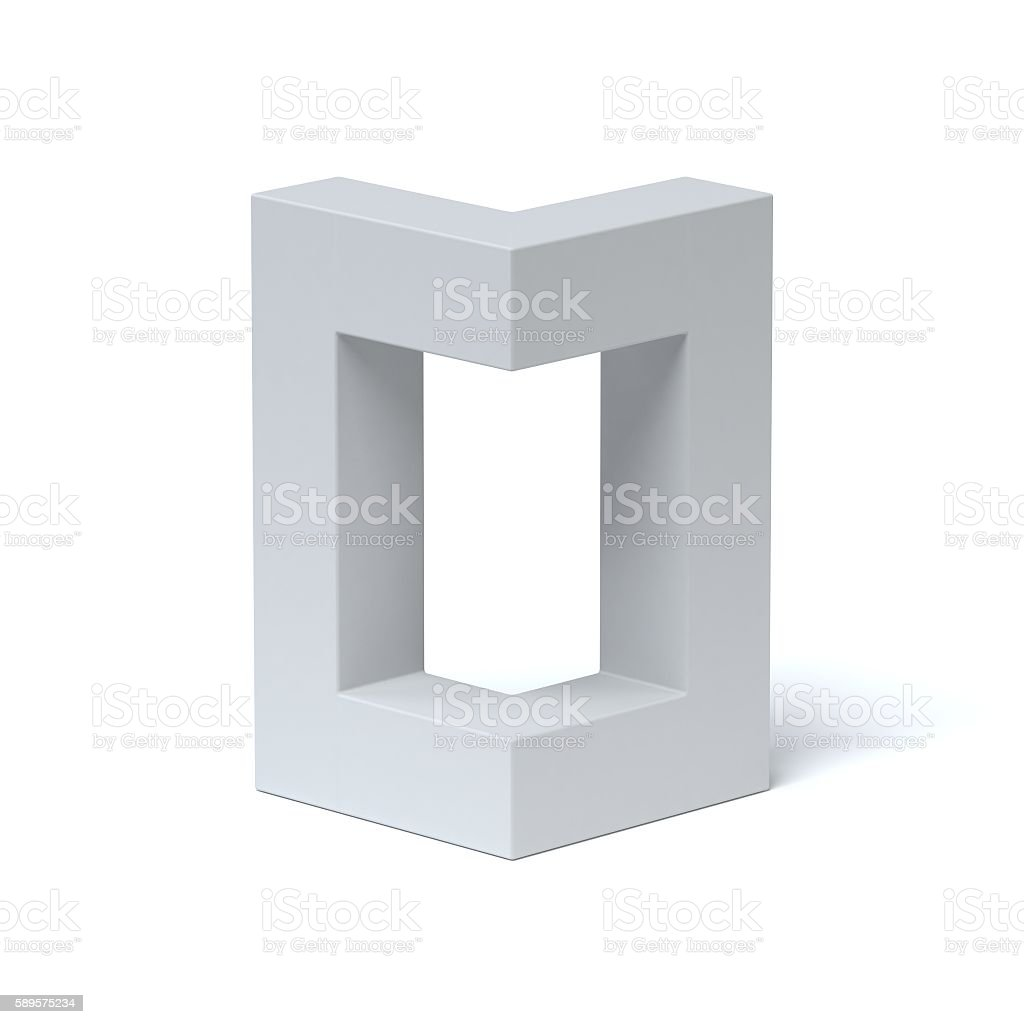 Isometric font letter O stock photo
