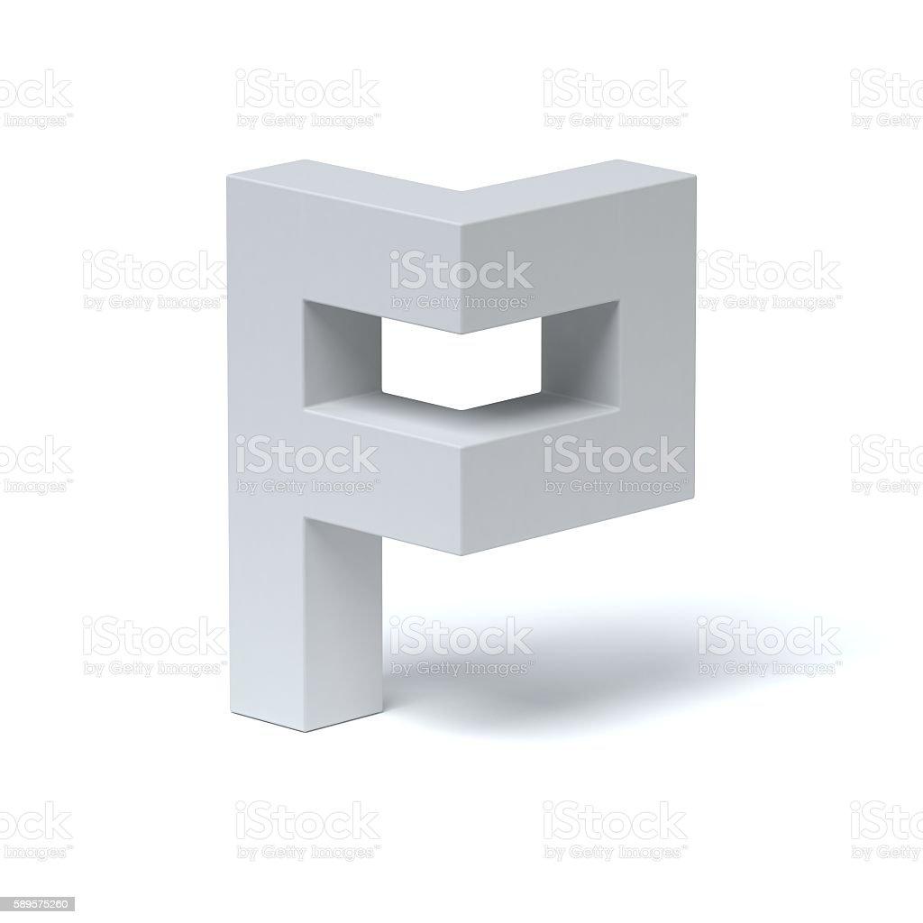 Isometric font letter P stock photo