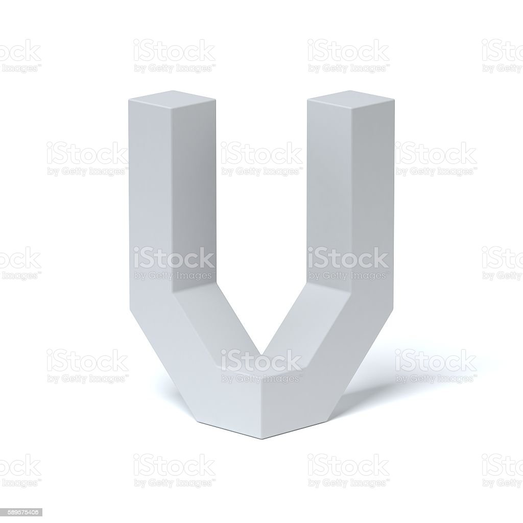 Isometric font letter V stock photo