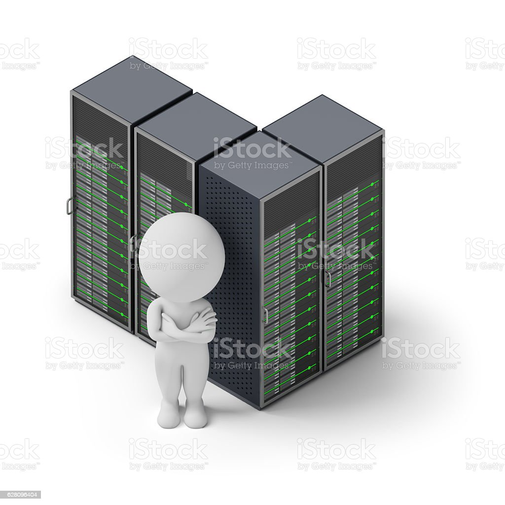 isometric people - servers stock photo