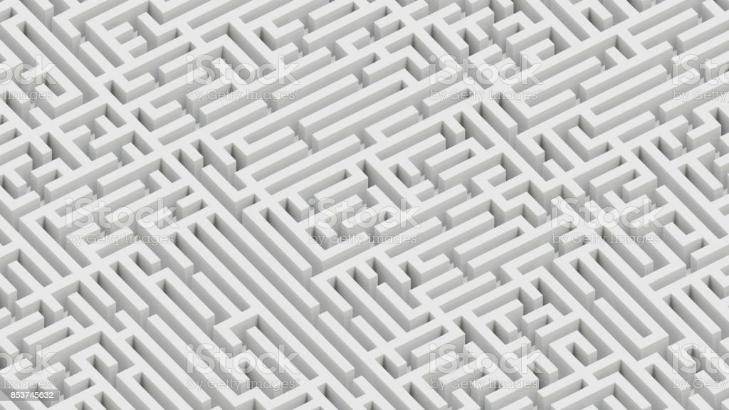 Isometric Perspective of an Endless White Maze Landscape stock photo
