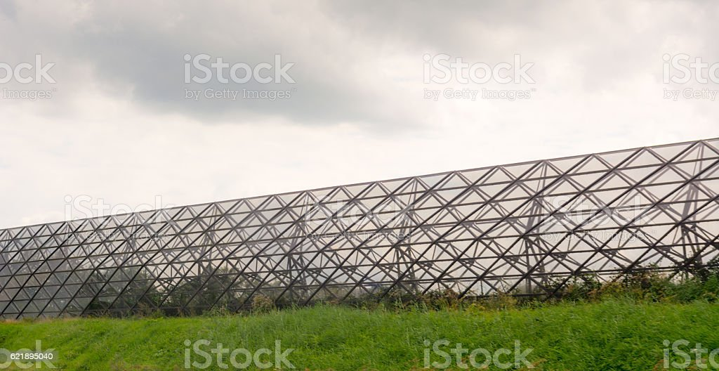 Isometric shaped Freeway Noise barrier stock photo