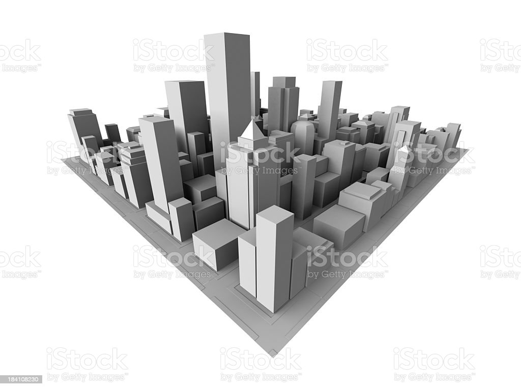 Isometric view of gray 3D city stock photo
