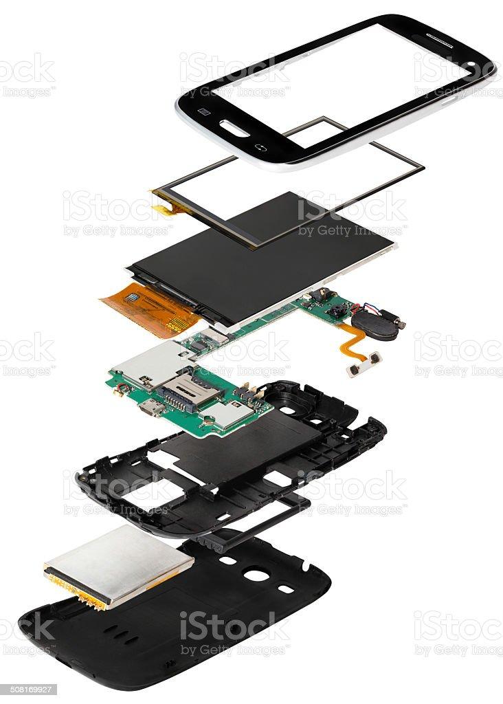 isometry disassembled smartphone stock photo