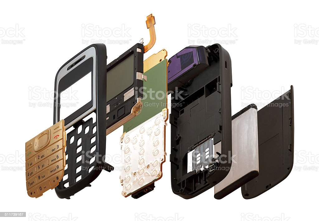 Isometry. The disassembled mobile phone isolated on a white background stock photo