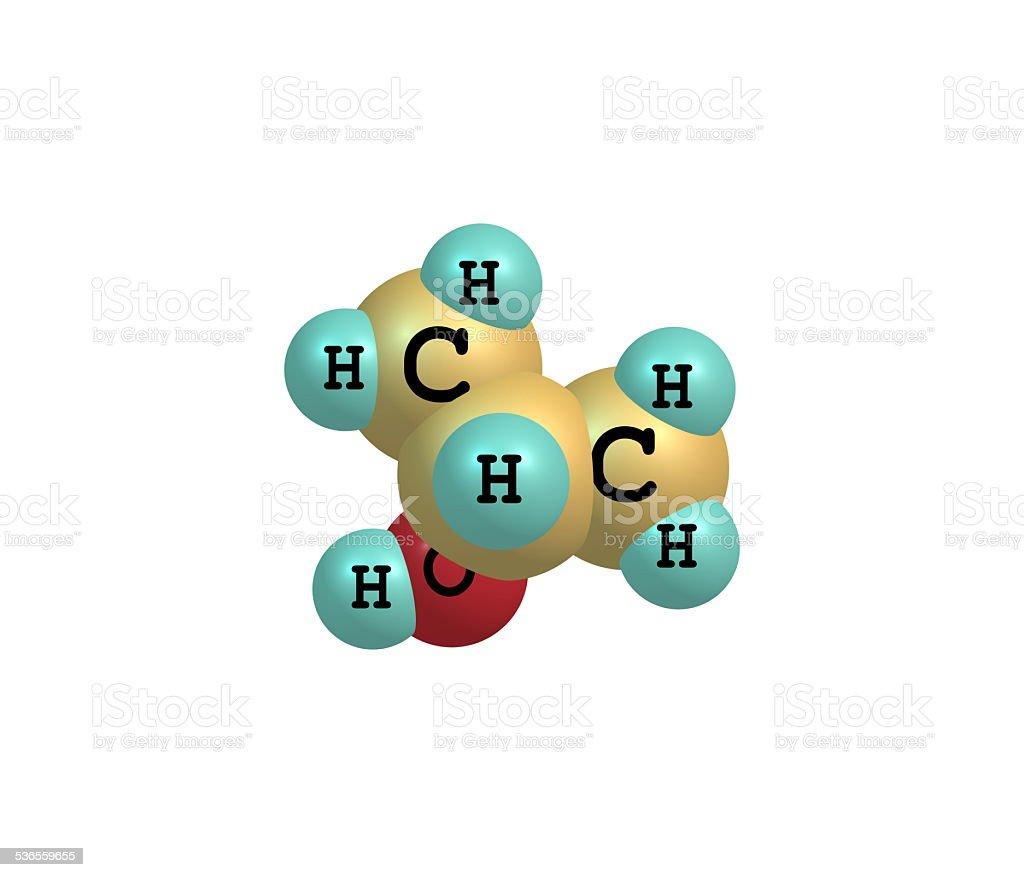 Isopropanol molecule isolated on white stock photo