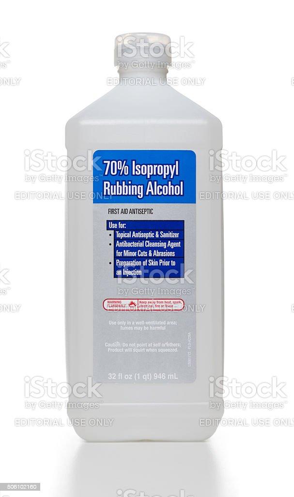 Isopropyl Rubbing Alcohol bottle stock photo