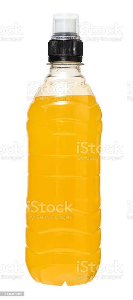 isotonic orange fruit sports drink isolated stock photo
