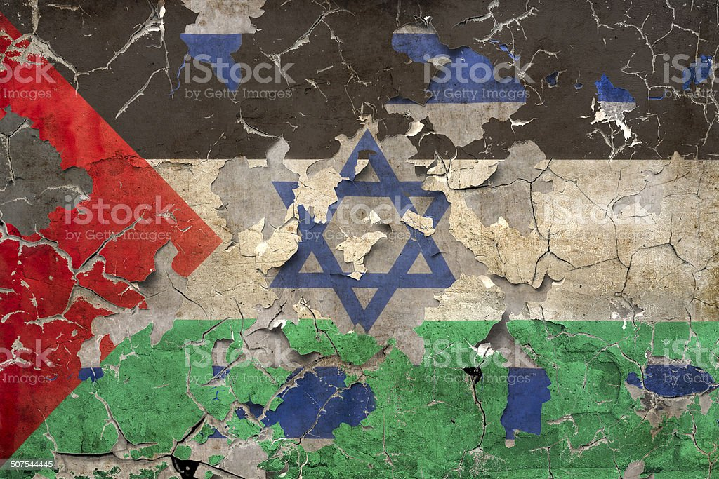 Israel and Palestine Conflict with broken wall and flags stock photo
