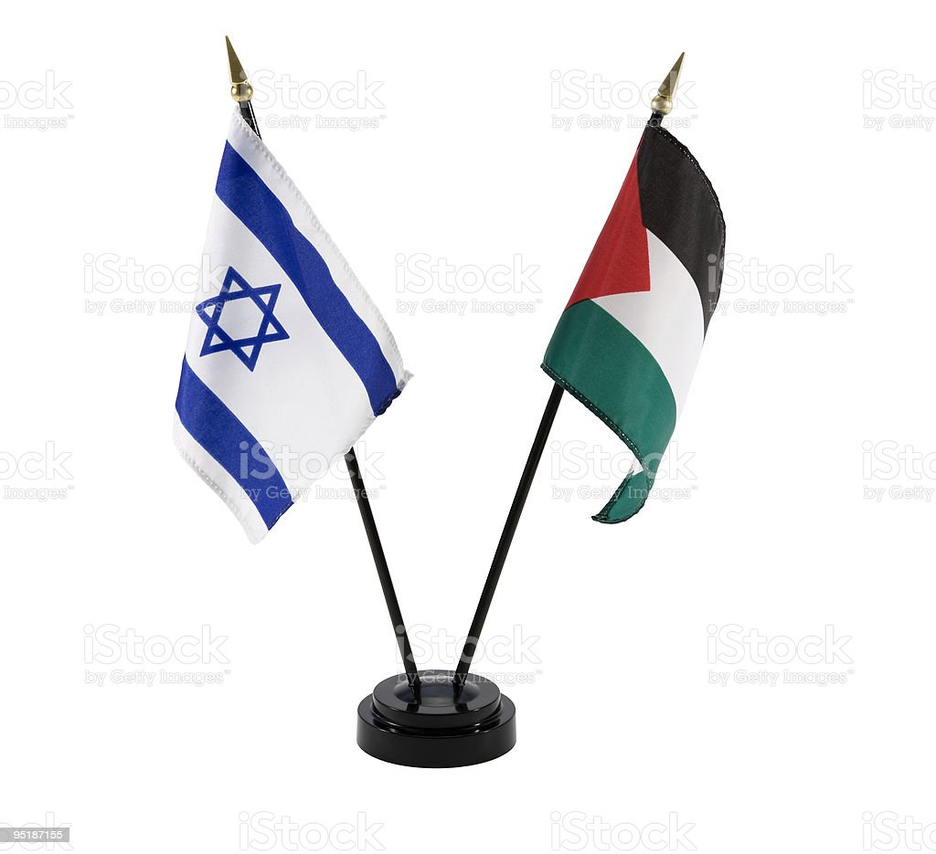 Israel and Palestine flags isolated stock photo