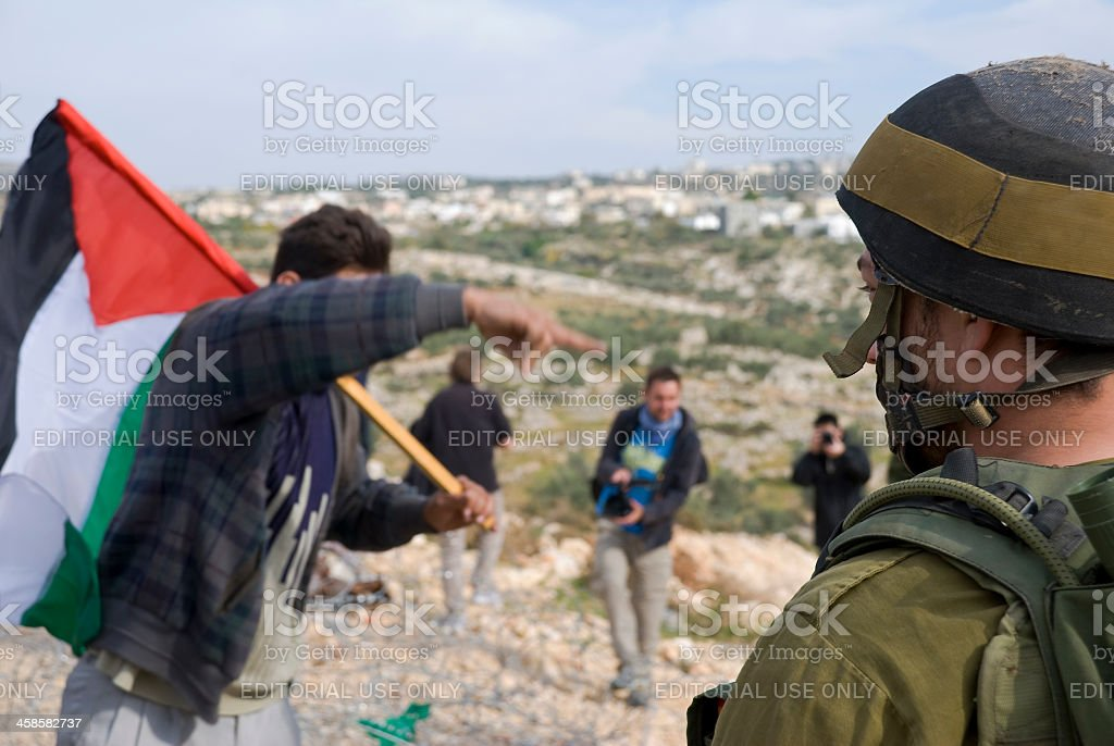 Israel and Palestine (protest in Bil'in, West Bank) stock photo