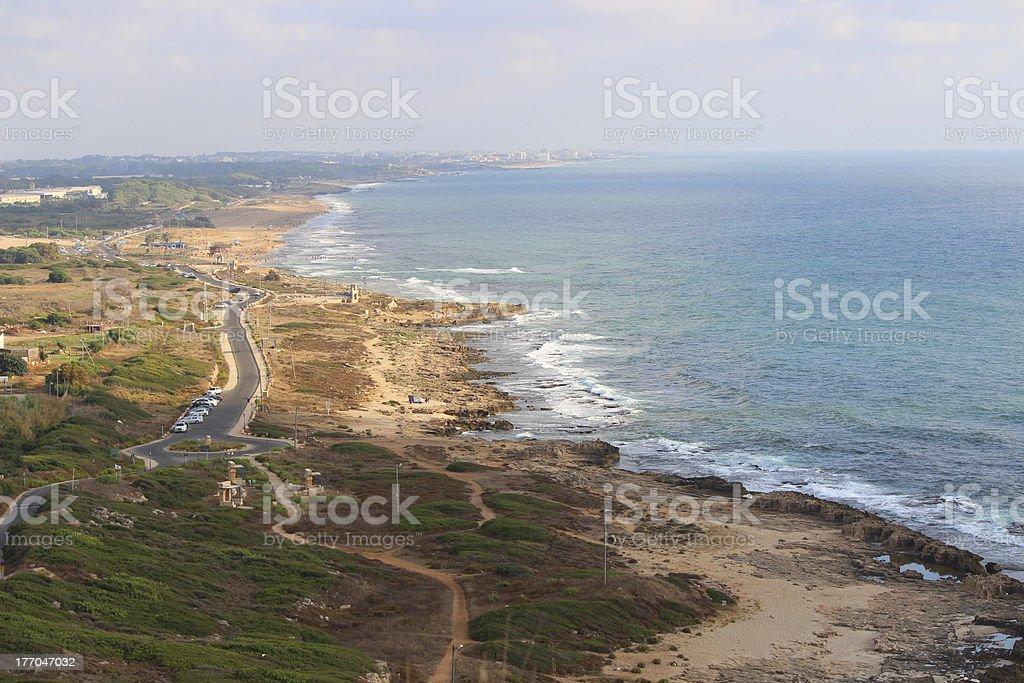 Israel Coast Rosh HaNikra towards Nahariya royalty-free stock photo