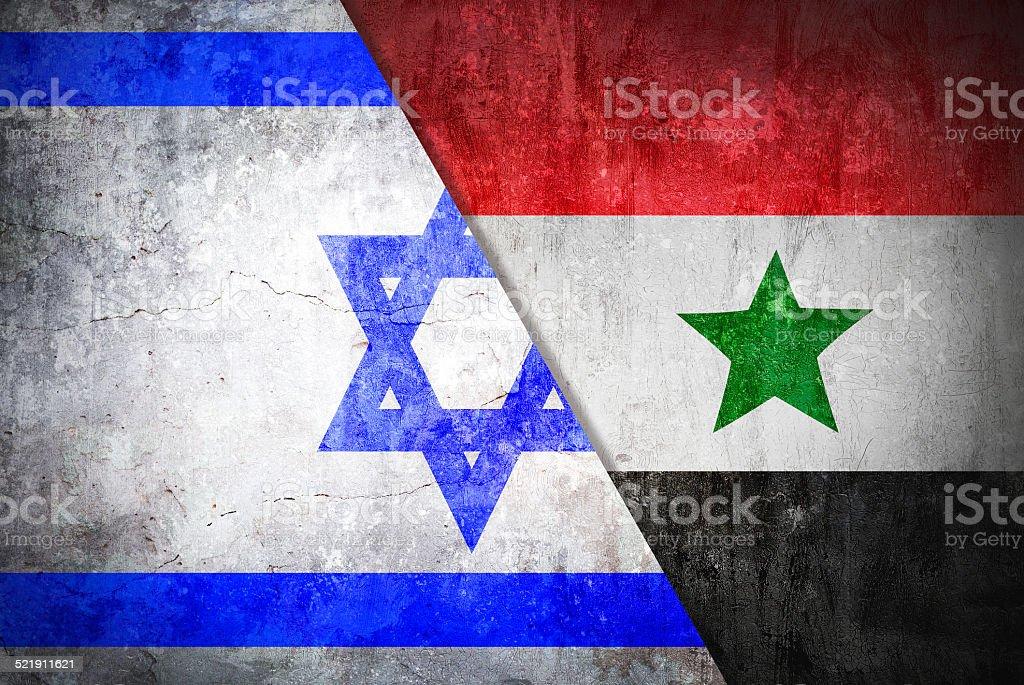 Israel confrontation Syria concept War flag grunge vintage retro style stock photo