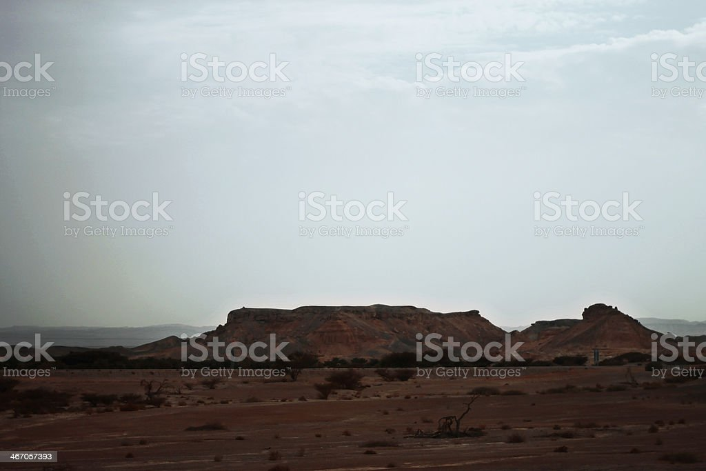 Israel desert and cloudy stormy sky royalty-free stock photo