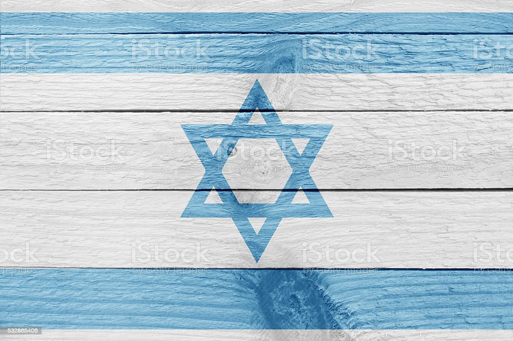 Israel flag on a wood plank stock photo