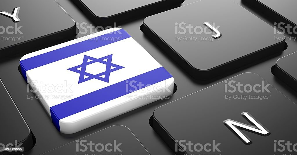 Israel - Flag on Button of Black Keyboard. royalty-free stock photo