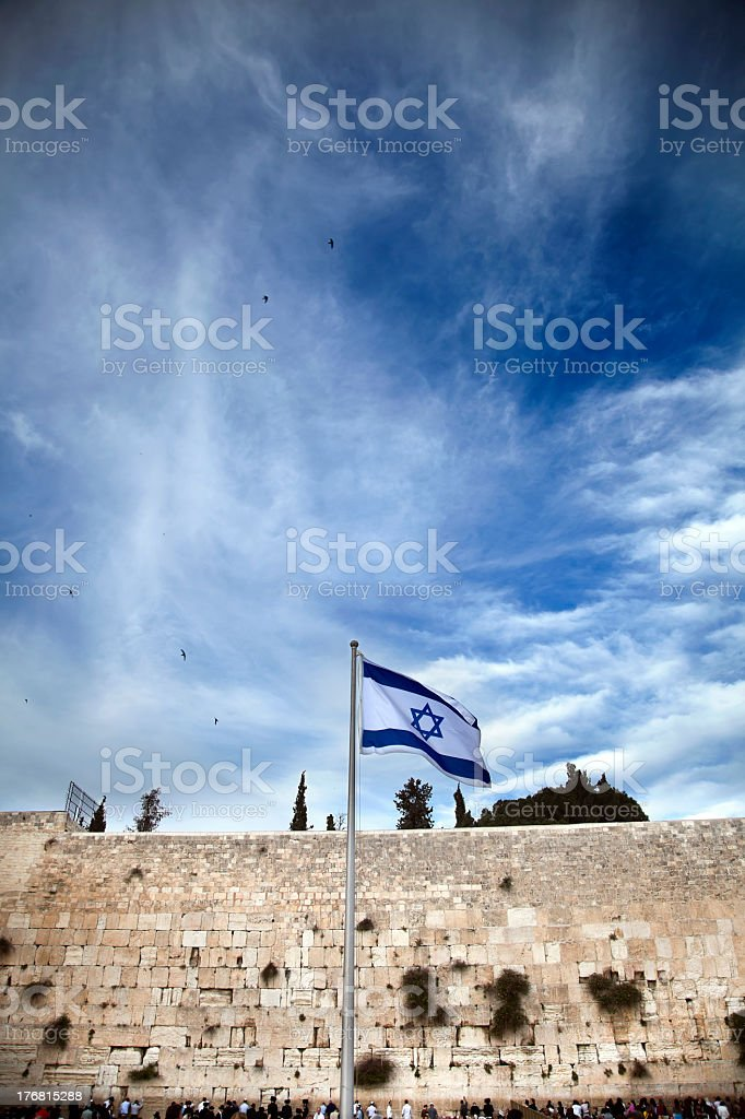 Israel flag place in front of the wailing wall stock photo