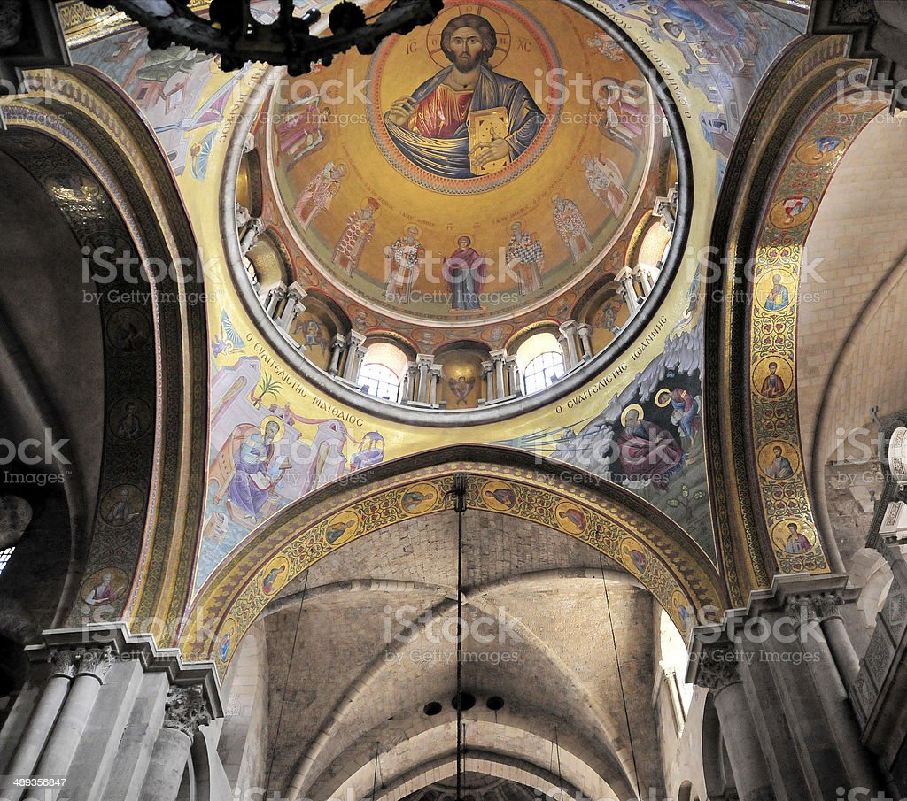 Israel - Jerusalem, Christ Pantocrator mosaic, Holy Sepulcher church stock photo