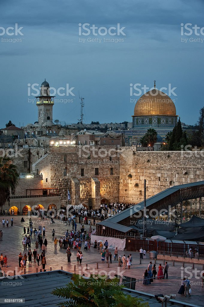 Israel, Jerusalem, wailing wall, mosque, Orthodox, Jew, Jewish, Shabbat stock photo