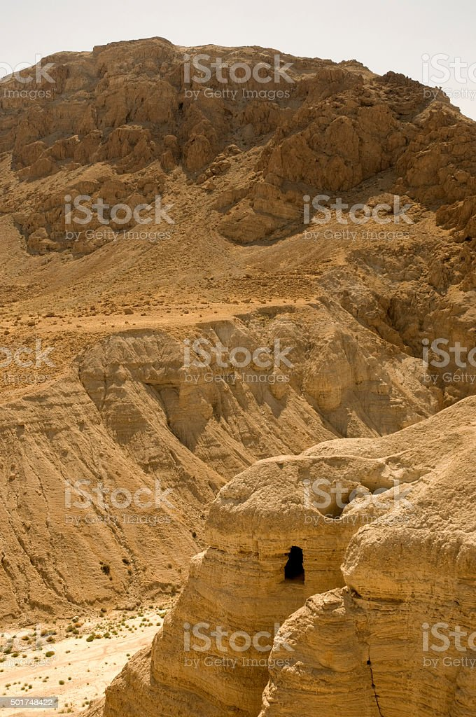 Israel Qumran Dead Sea Scrolls caves stock photo