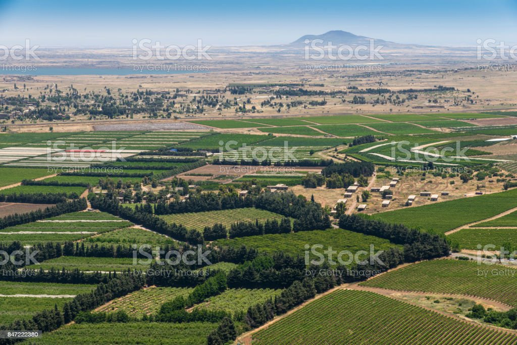 Israel Syria frontier stock photo