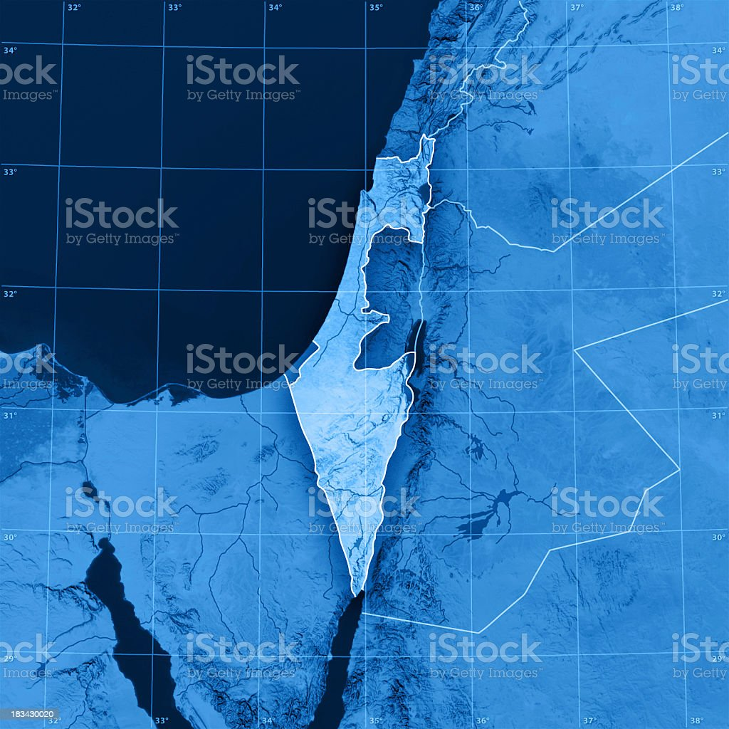 Israel Topographic Map stock photo