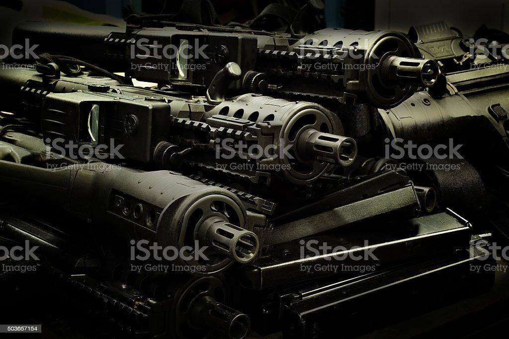 Israeli assault rifles stock photo