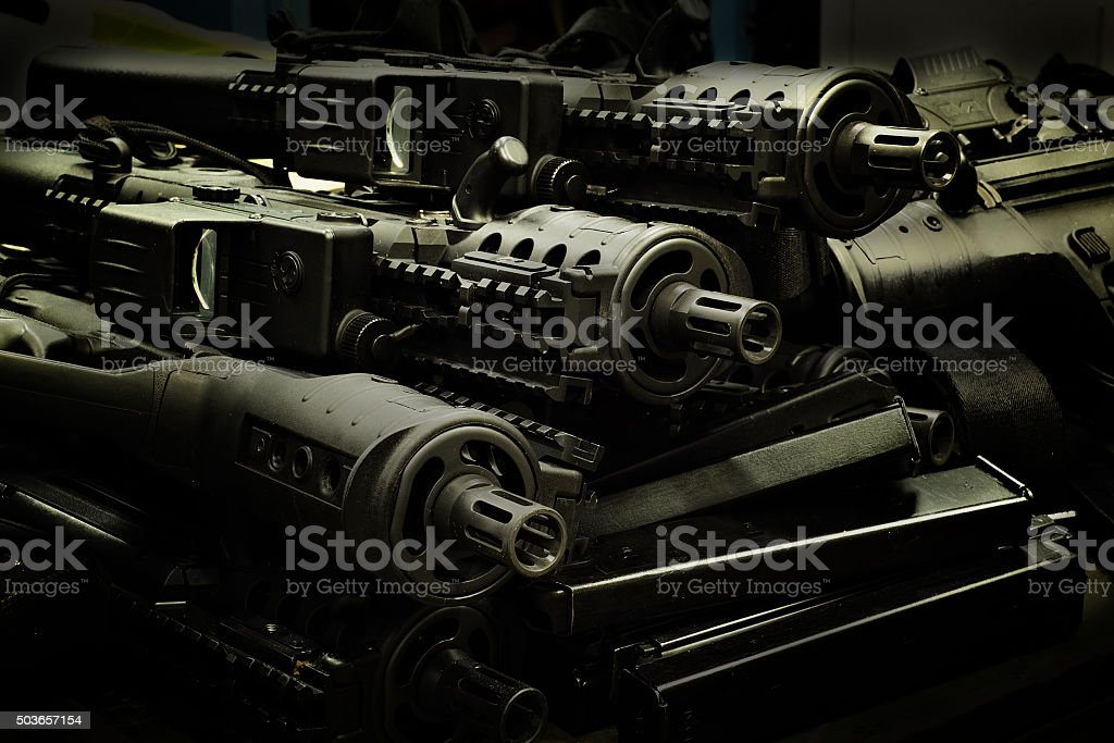 Israeli assault rifles stock photo