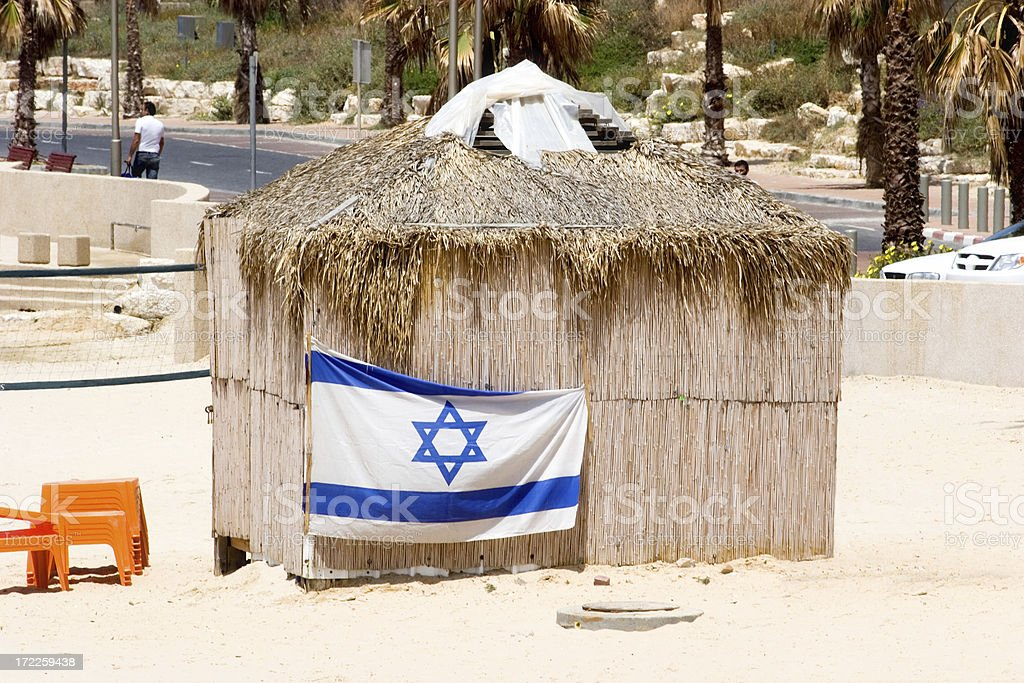 Israeli Beach Hut stock photo