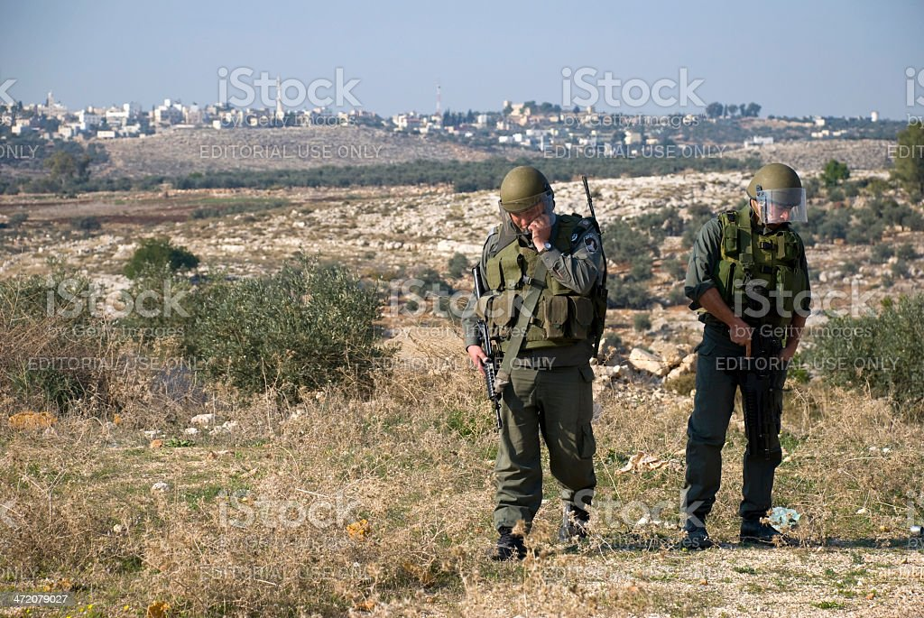 Israeli border police in West Bank royalty-free stock photo