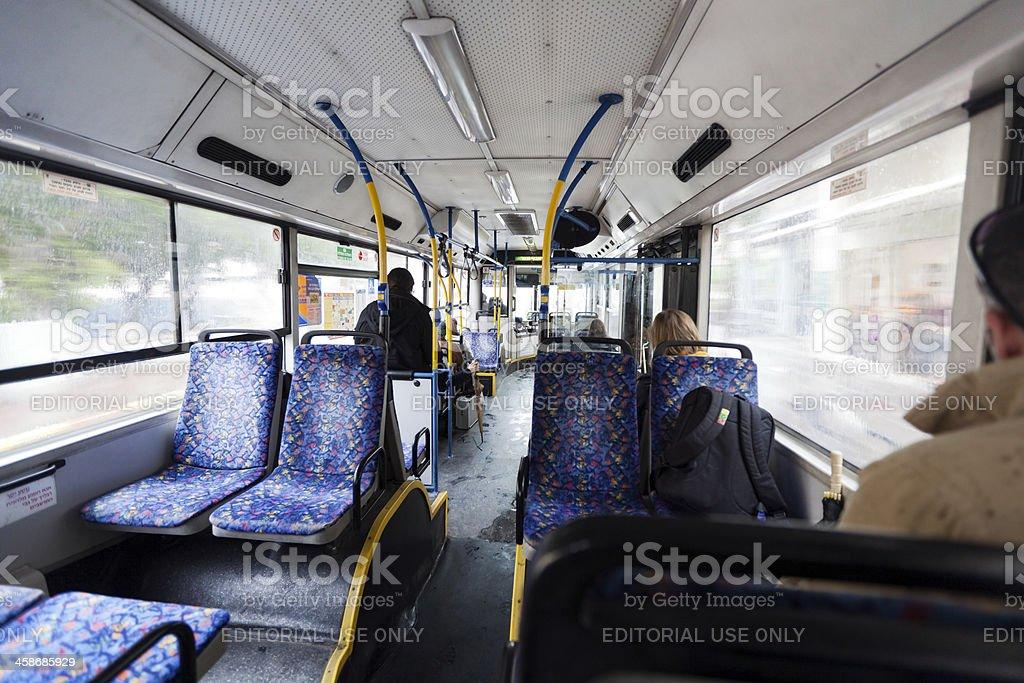 Israeli Bus Winter Morning royalty-free stock photo