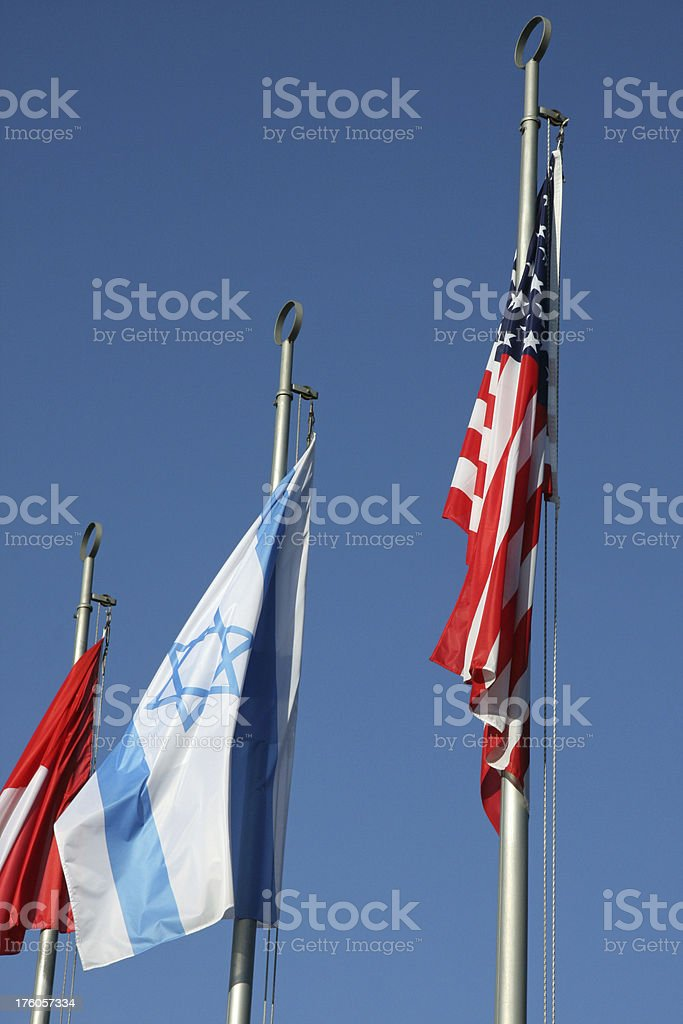 Israeli flag and American royalty-free stock photo