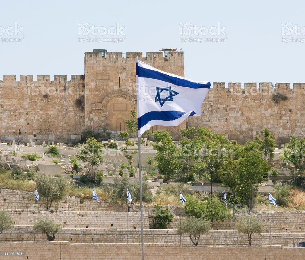 Israeli Flag and Jerusalem Wall stock photo