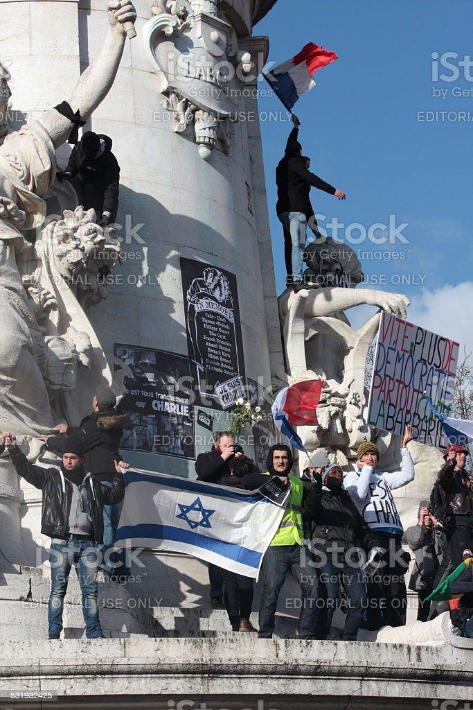 Israeli flag in Paris stock photo