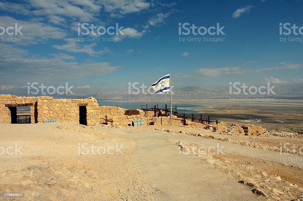 Israeli flag Masada stock photo