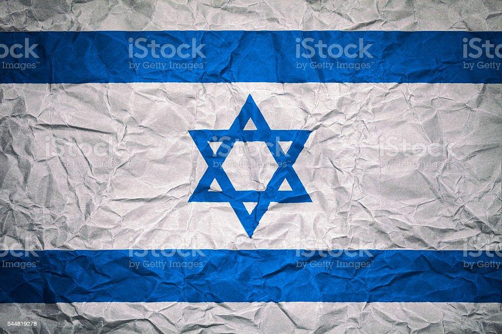 Israeli Flag on crumpled paper - Background stock photo