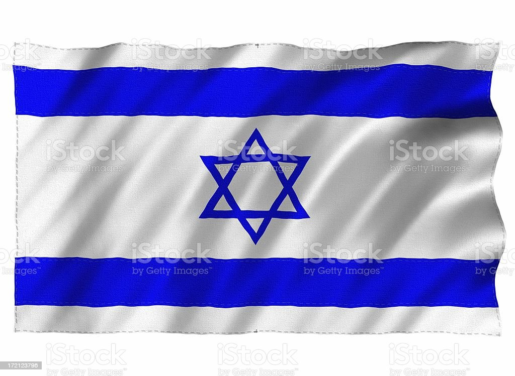 3D Israeli Flag On White royalty-free stock photo