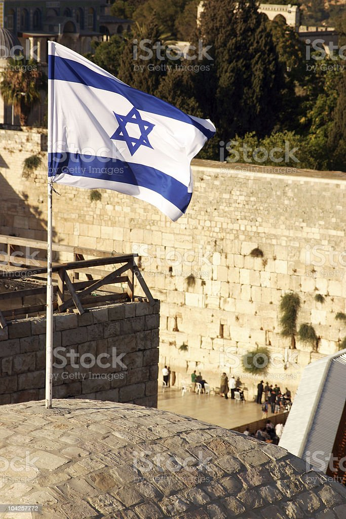 Israeli flag over the western wall - Jerusalem royalty-free stock photo