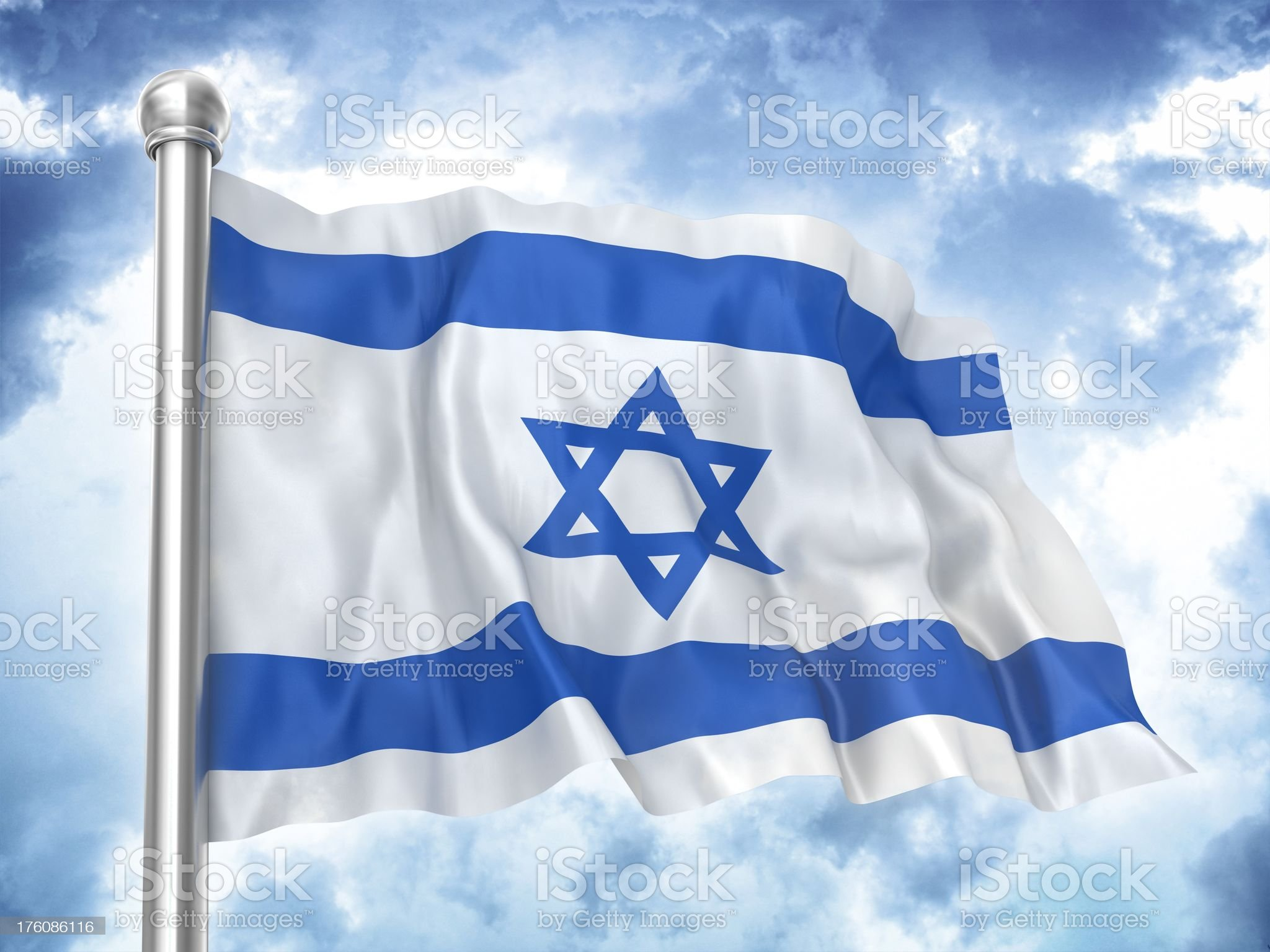 israeli flag waving on sky royalty-free stock photo