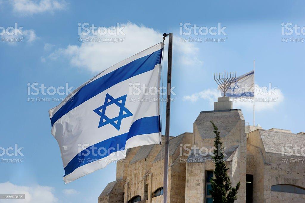 Israeli flags in Jerusalem stock photo