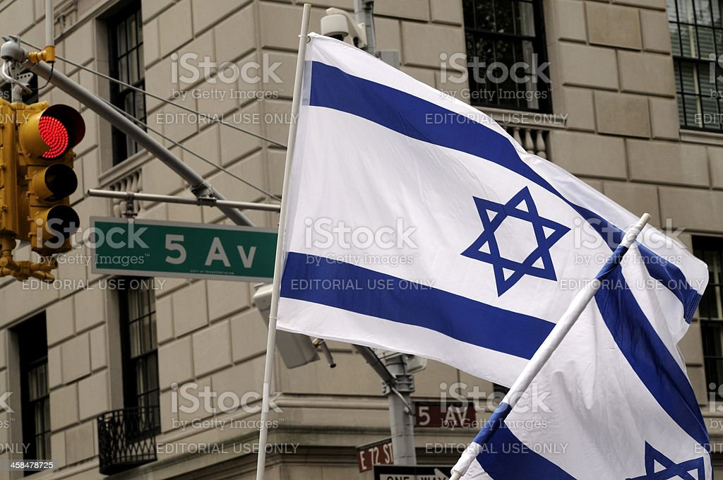 Israeli Flags Wave in New York City royalty-free stock photo