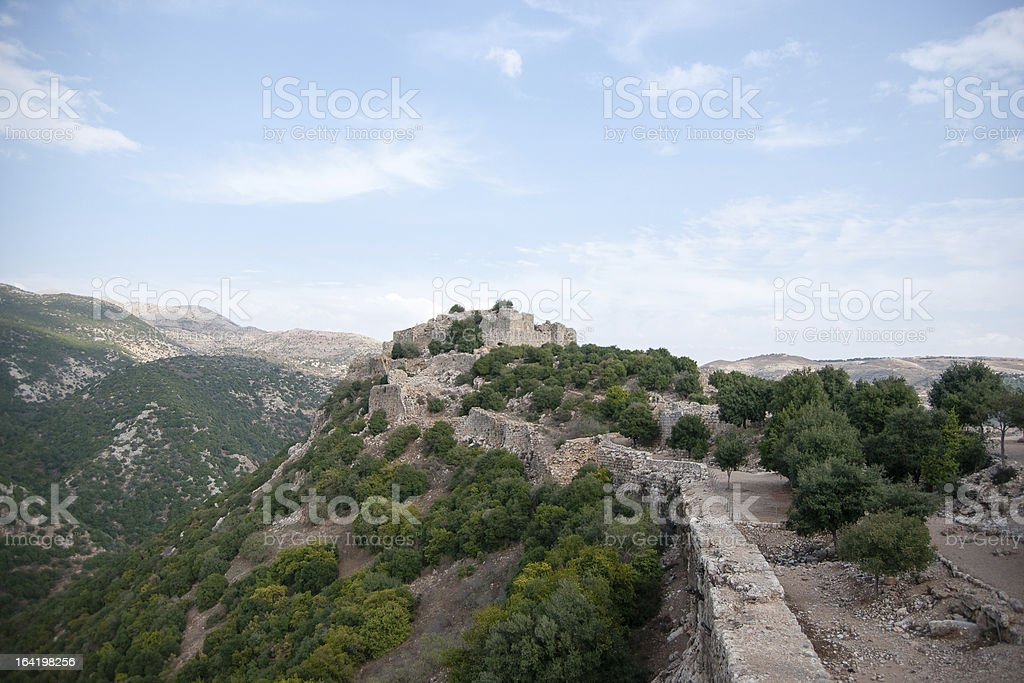Israeli landscape with castle and sky royalty-free stock photo