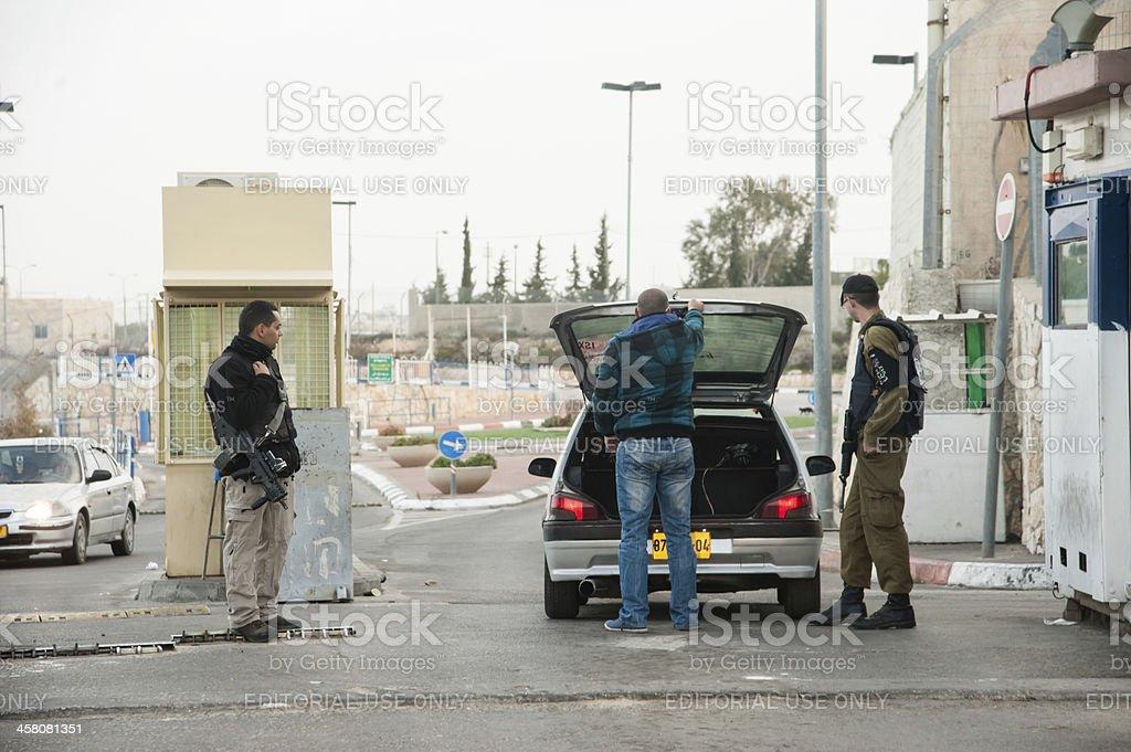 Israeli military checkpoint stock photo