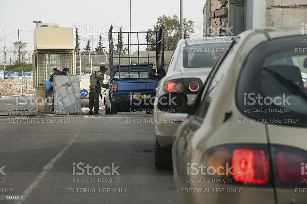 Israeli military checkpoint stock photo