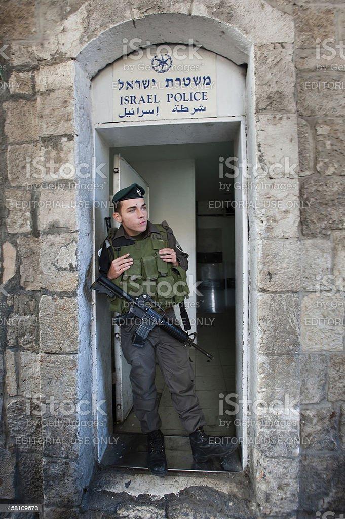 Israeli Police in Jerusalem stock photo